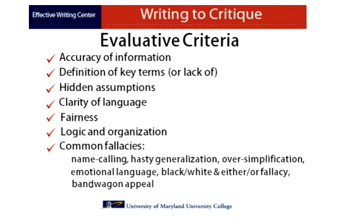 how to write a critique of a novel evaluative criteria
